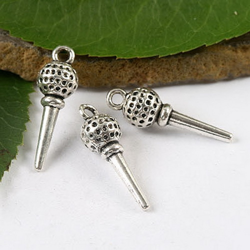 72pcs Tibetan silver a golf ball on a tee charms h1687