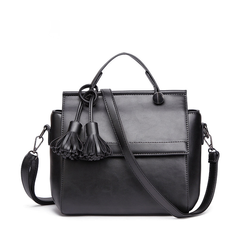 Burnished Leather font b Handbag b font Ladies New Fringes Black Grey Pink Hand Bag Designer