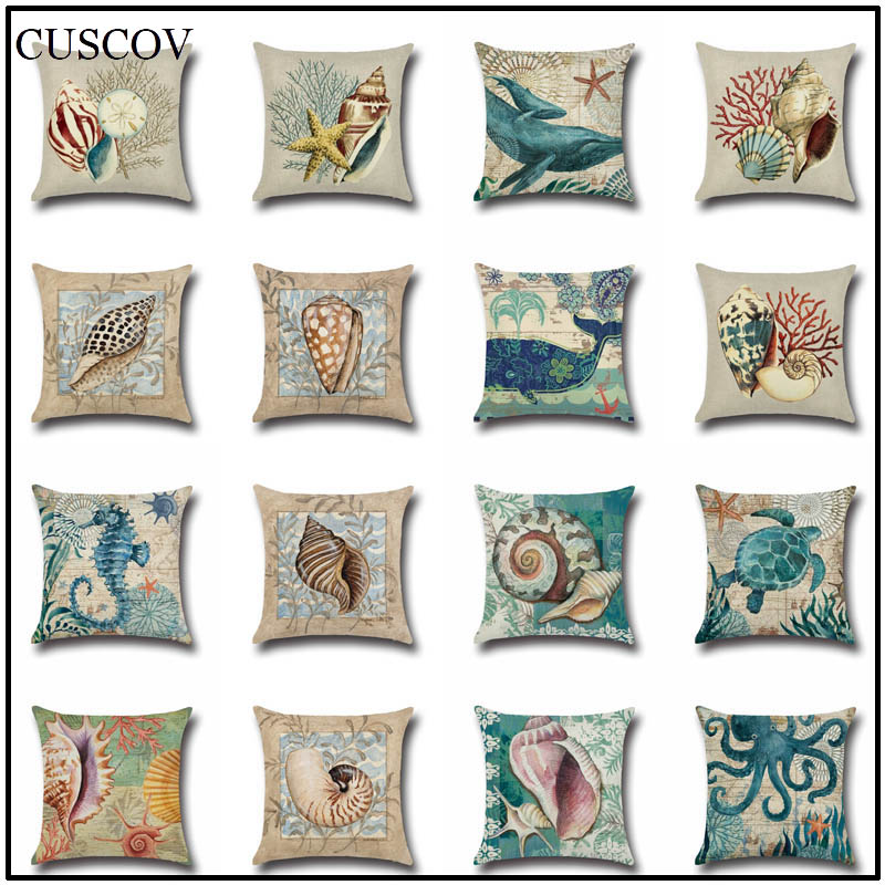 CUSCOV Marine animal linen sofa cushion cover conch,octopus print wedding decoration pillow case living room chair