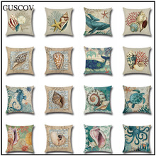 CUSCOV Marine animal linen sofa cushion cover conch,octopus print wedding decoration pillow case living room chair pillow cover animal print pillow cover
