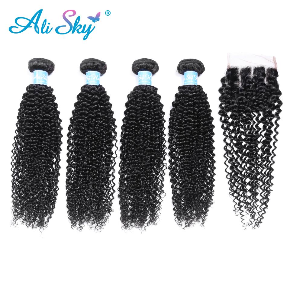 Alisky Human Hair Pre-colored Brazilian Kinky Curly Wave With Nature Black Lace Closure 4 Bundles With Closure Remy No Shedding