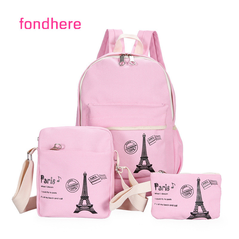 fondhere 3 Pcs/set Canvas Women Backpack Set Ladies Tower Printing School Bags For Teenagers Girls Shoulder Travel Rucksack