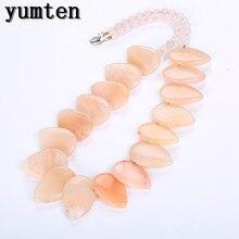 Yumten Chalcedony Necklace Women Stone Power Crystal Leaf Pendant Original Gemstone Jewelry Halsketting Vrouwen Bayan Kolye Yoga