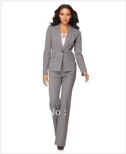 Lady Suit Brand Suit Light Gray Women Suit Long Sleeve Jacket & Straight Leg Pants Custom Suit   682