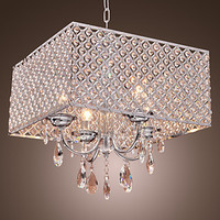 LED Modern Crystal Pendant Lights Lamp With Crystal Drops In Square Lustre De Cristal E Pendentes