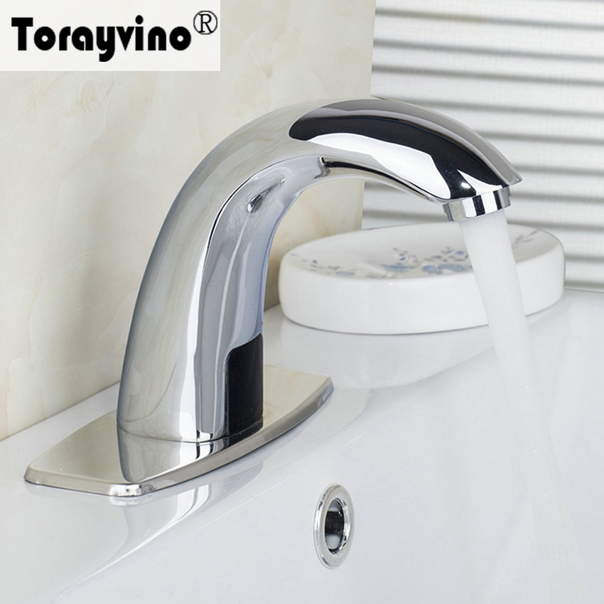 Torayvino Bathroom Contemporary Chrome Polished Sense Basin Faucet Deck Mounted Single Hole Hot Cold Water Eminent Basin Faucet