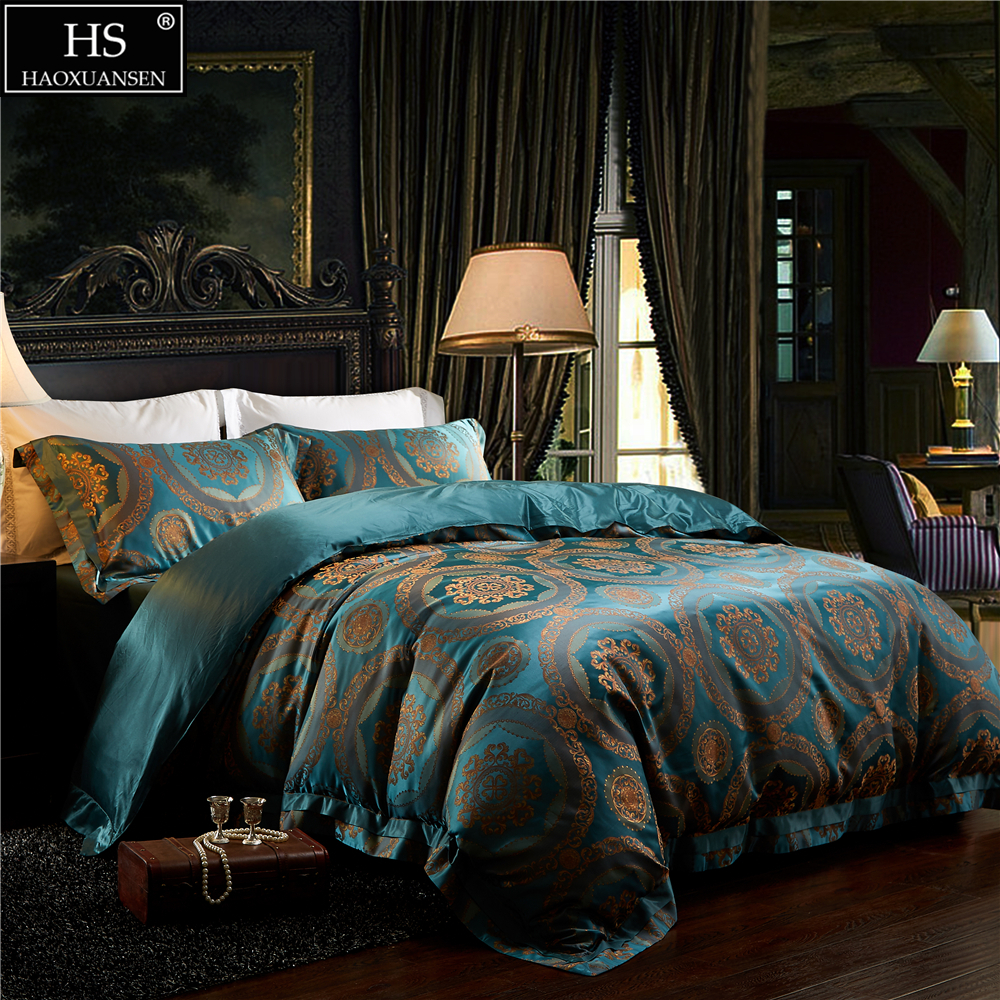 HS Bedding Sets 100% 28 Momme Pure Long Stranded Mulberry Silk Jacquard Satin 4pcs Bedding Set Luxury King Size Bedroom Sets