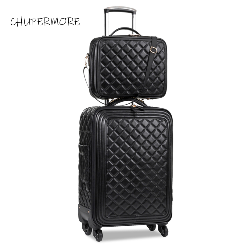 Chupermore Retro Brand PU Leather Rolling Luggage Set Spinner Women High Capacity Suitcase Wheels 16 Inch Cabin Password Trolley