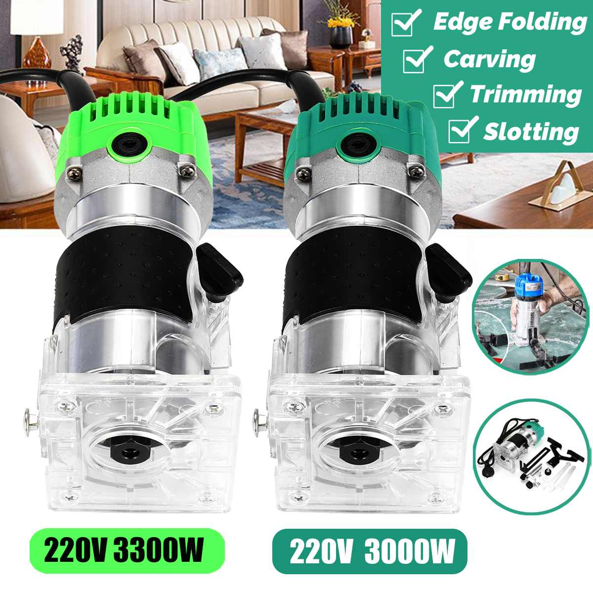 3000W Woodworking Electric Hand Trimmer with Adjustable Cutting Depth for surface finishing/Curve cutting