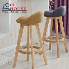 wood chairs creative bar chair wooden front retro simple high foot stool FREE SHIPPING