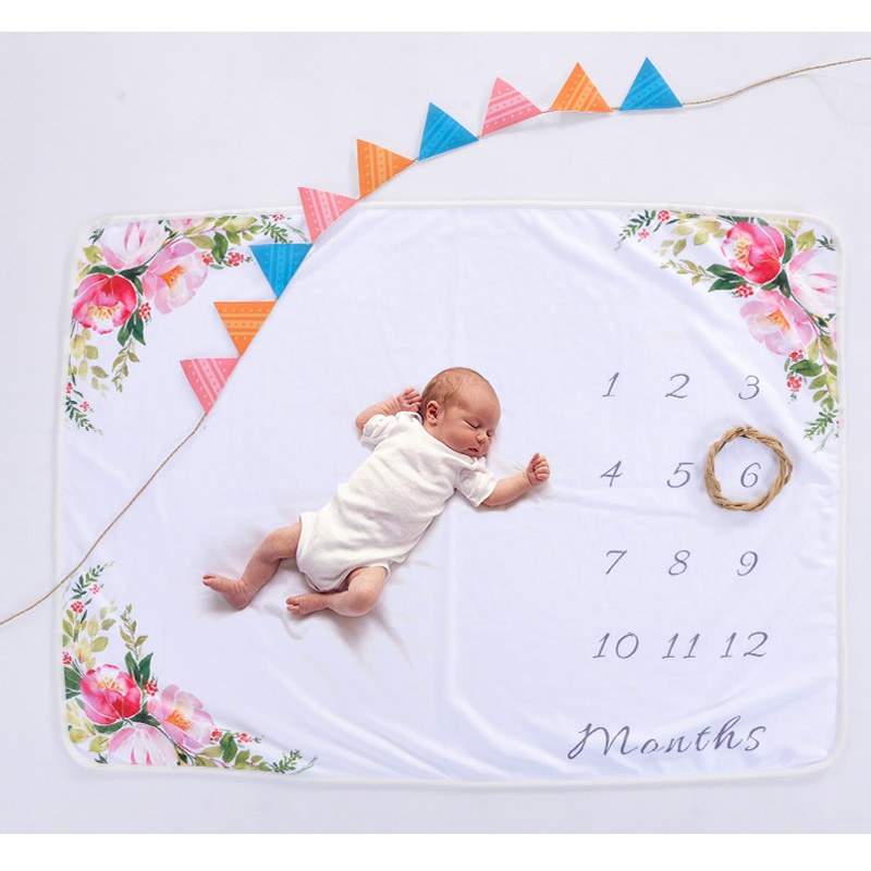 Newborn Flower Letter Printed Monthly Growth Blankets 70*102cm Infant Baby Milestone Blanket DIY Photo Photography Props