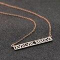 Número romano Collar Personalizado Horizontal Hueco Joyas Encanto Personalizado Rosa de Oro Unisex Collar