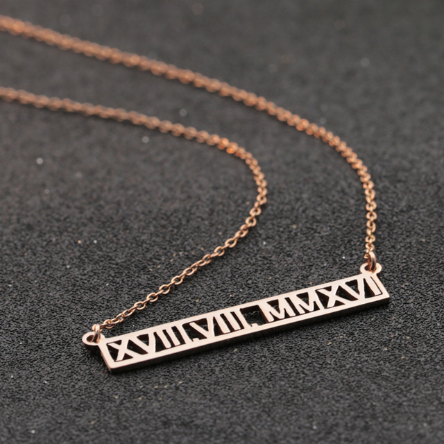 Aliexpress buy roman number customized necklace horizontal roman number customized necklace horizontal hollow jewelry personalized charm rose golden unisex necklace aloadofball Image collections