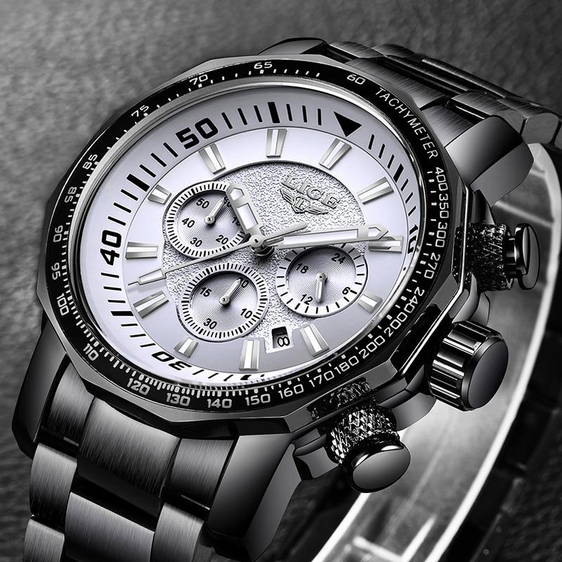 LIGE Mens Watches Top Brand Luxury Waterproof 24 hour Date Quartz Watch Man Full Steel Sport WristWatch Men Waterproof Clock+Box