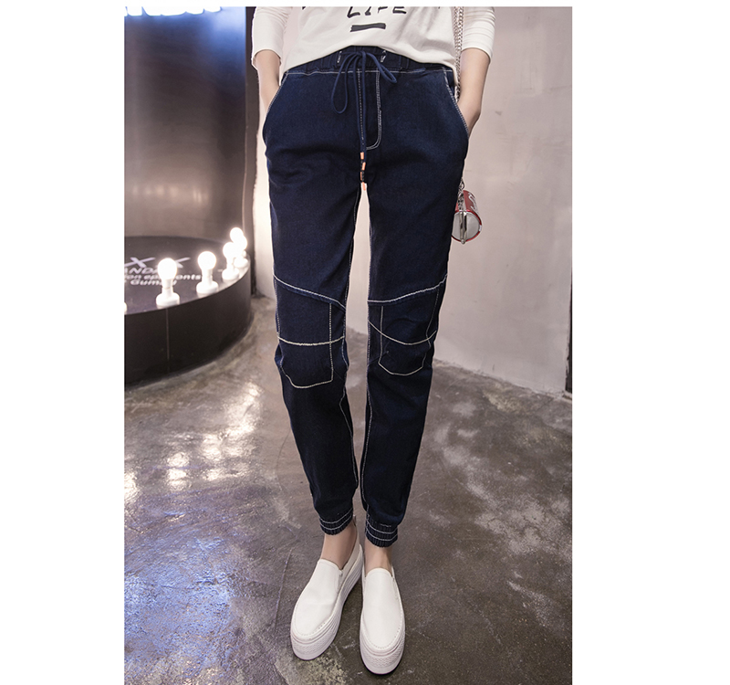 ФОТО New Arrival Spring and Autumn Female Elastics Jeans Fashion Ankle Banded Slim Nine Cowboy Points Pants Casual