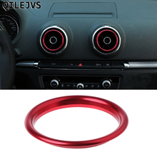 QILEJVS Car Air Outlet Decoration Trim Ring Sticker For AUDI A3 S3 2013-2016/Q2 Red