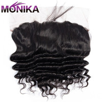 Monika Hair 13x4 Pre Plucked Lace Frontal Closure Brazilian Loose Deep Wave Frontal Non Remy Human Hair Closure Free/Middle Part