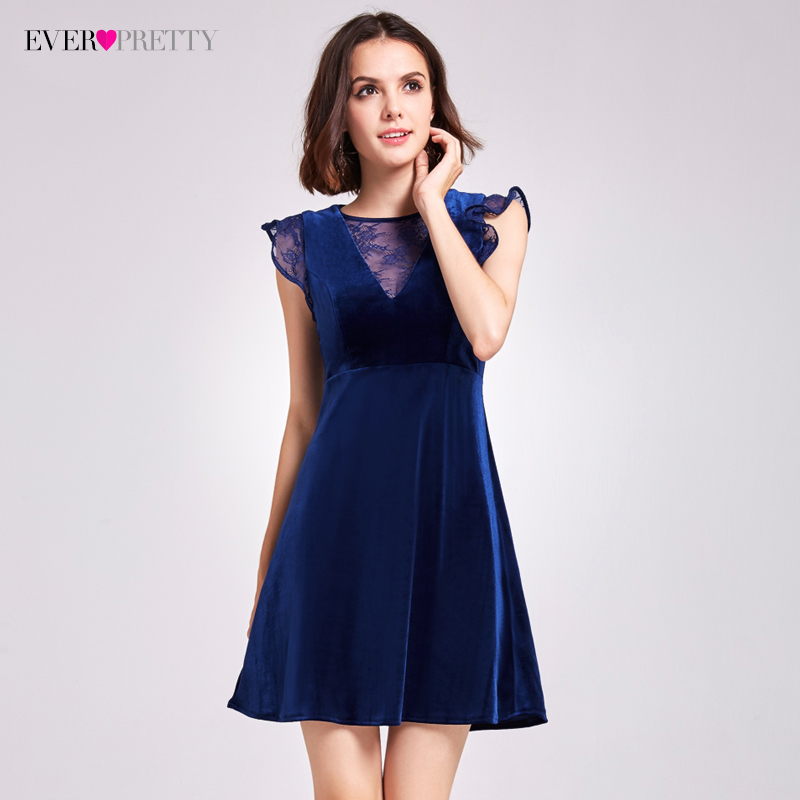 Sexy Velvet Cocktail Dresses Ever Pretty AS05897 A-Line Mini V-Neck Cocktail Party Dresses With Ruffles 2019 Women Lace Dresses