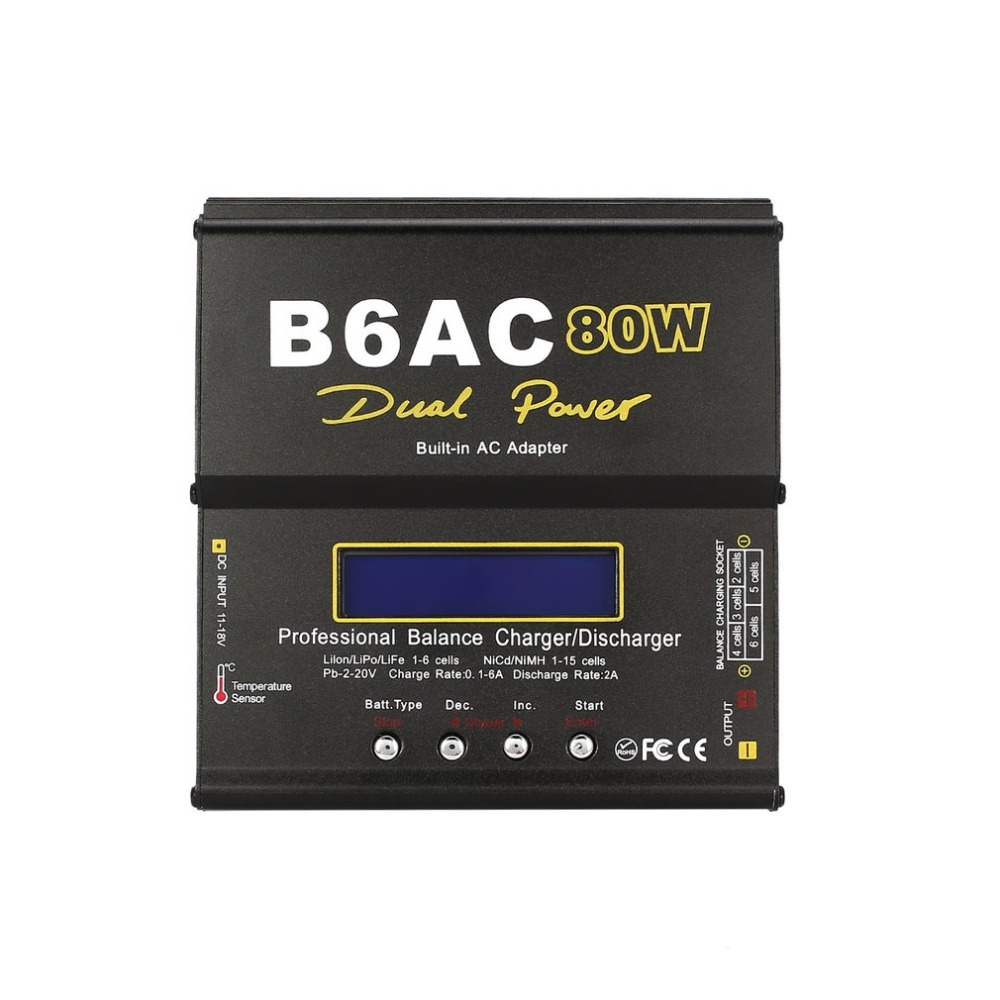 B6AC 80W 6A Lipo NiMh Li-ion Ni-Cd AC/DC RC Balance Charger 10W Discharger for RC Car Helicopter Drone Airplane Battery llt светильник сд ав сдсо 089 выход 1 5 часа ni cd ac dc