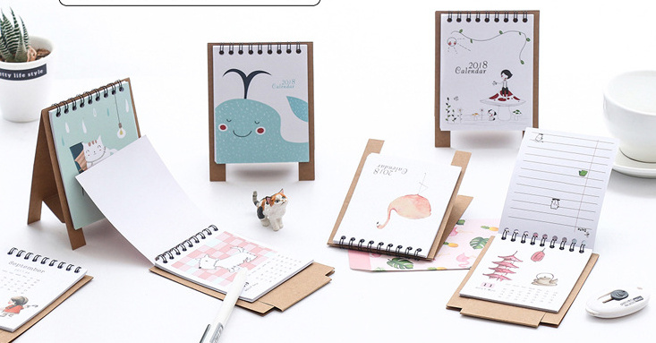 Lovely cartoon animal 2018 Calendar Desktop Paper Calendar dual Daily Scheduler Standing Table Planner Yearly Agenda Organizer