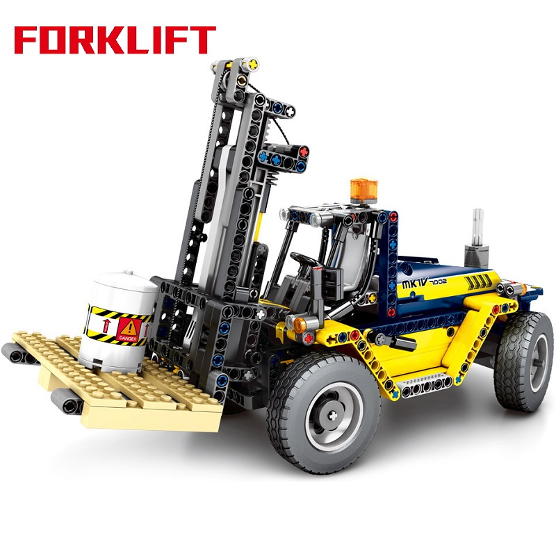 602Pcs 2IN1 Construction Vehicle Engineering Forklift Building Blocks Compatible Technic City Crane Bricks Child Toys