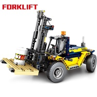 602Pcs 2IN1 Construction Vehicle Engineering Forklift Building Blocks Compatible Legoings Technic City Crane Bricks Child Toys