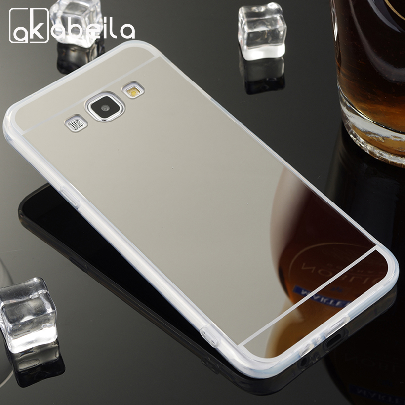 AKABEILA Phone Covers Cases For <font><b>Samsung</b></font> Galaxy A8 A800 Case TPU Mirror A8 A800F <font><b>A8000</b></font> A8009 5.7 Inch Covers Back Skin Bags image