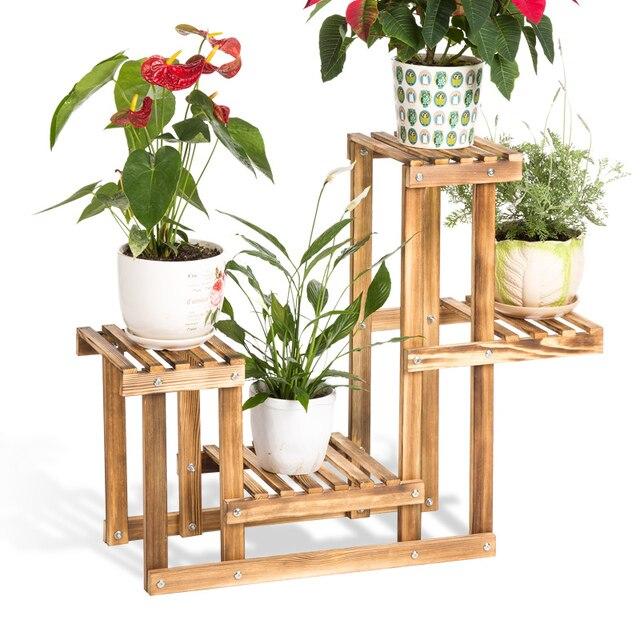 Massivholz Blume Regal Verholzung Eine Wohnzimmer Mehrschichtigen Blume  Topf Rack Einfache Pflanze Blume Regal Pastorale Landschaft