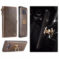 Caseme Retro Multifunction Car Holder Magnet Cover Leather Wallet Card Slots 2 In 1 Case For