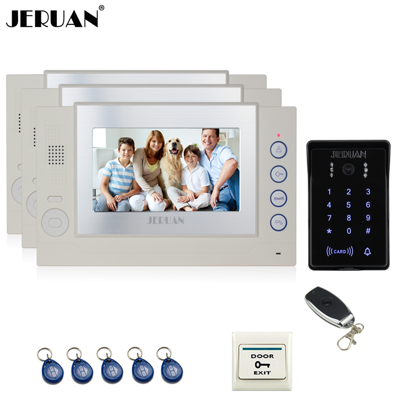 JERUAN 7`` LCD video door phone Record intercom system 3 monitor New RFID waterproof Touch Key password keypad Camera 8G SD Card jeruan 7 lcd video door phone record intercom system 3 monitor new rfid waterproof touch key password keypad camera 8g sd card