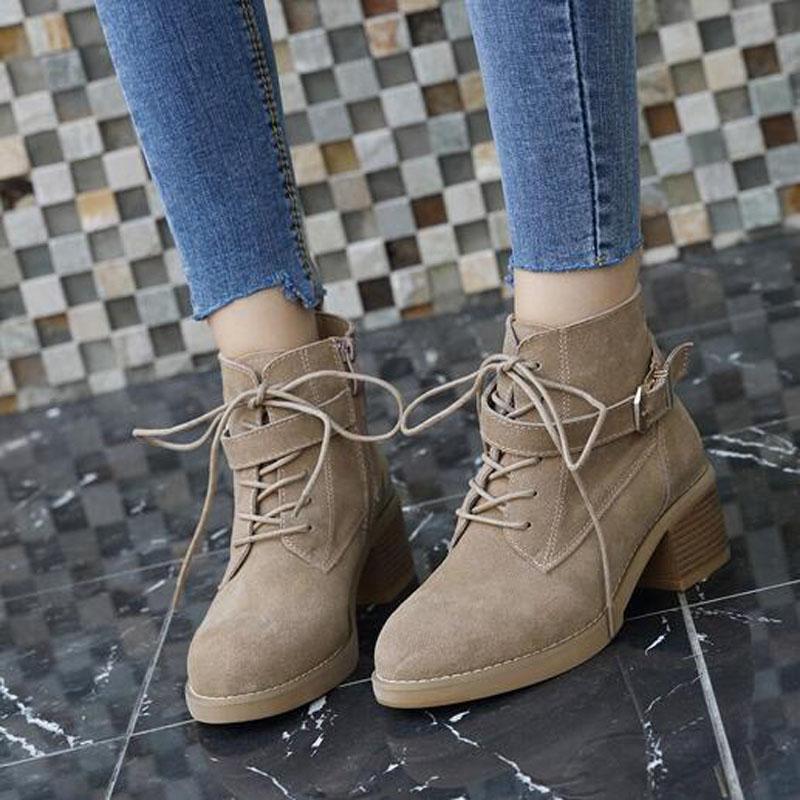 Femmes Talons Hiver Casual Chaussures Neige Cheville Imperméables Black 39 Martin Bottes khaki Hauts Botas Chaud Plus De Taille 85qB1r5