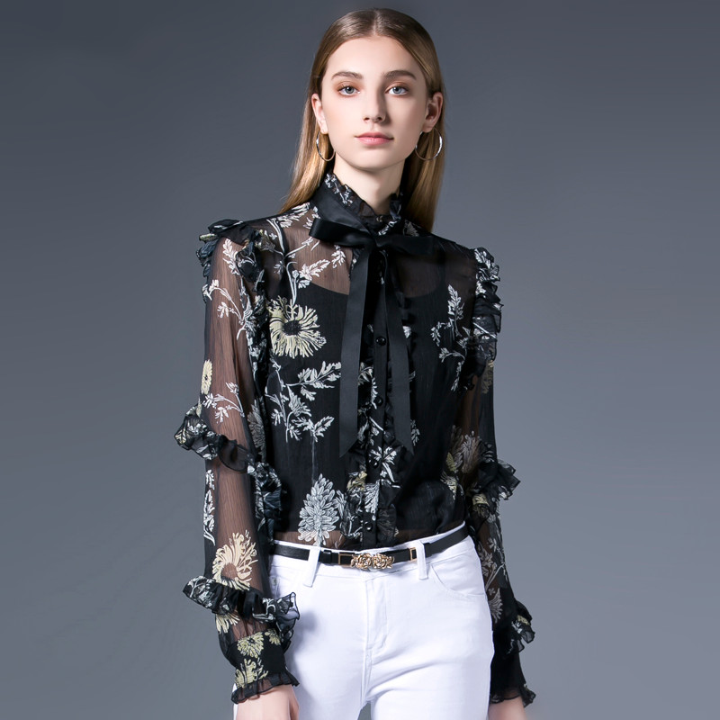 2019 High Quality Zim Style Runway Blouse Women Vintage Embroidery Puff Sleeve Shirt Female Fashion Tops Holiday 50% OFF Women's Clothing