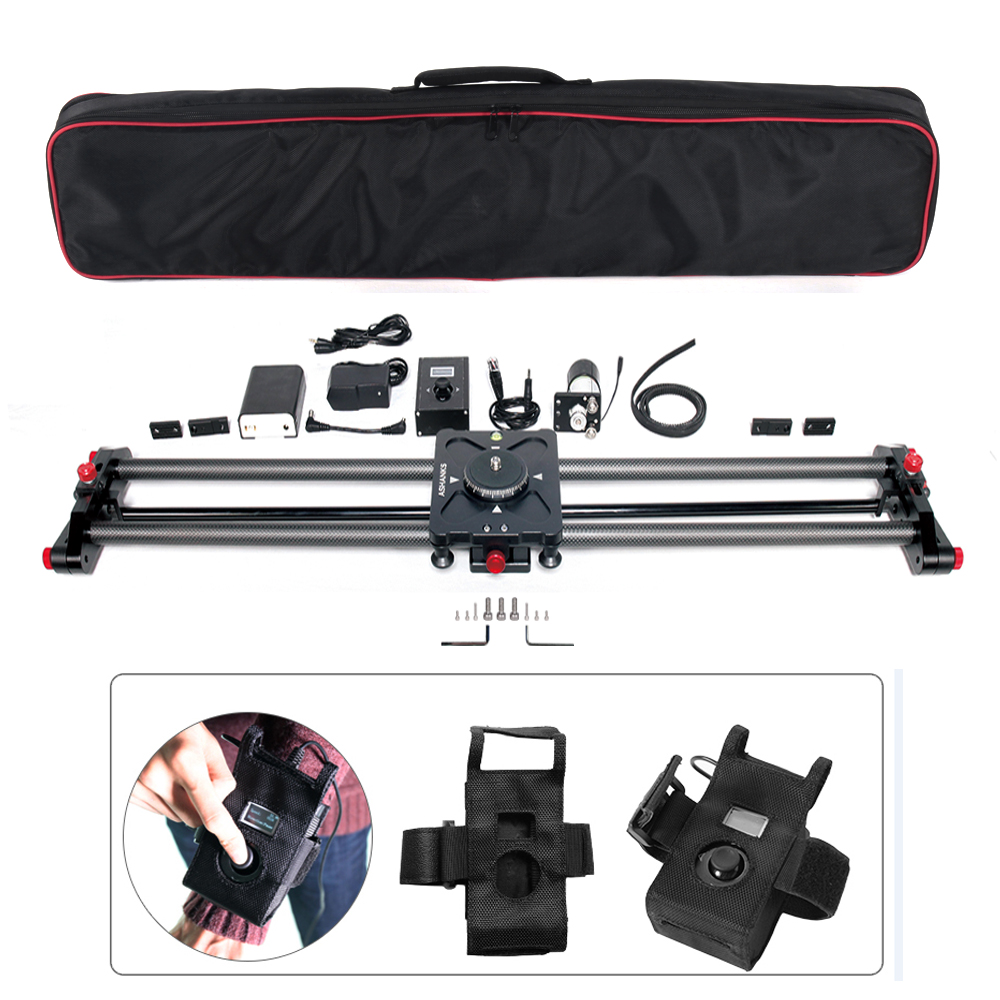 ASHANKS Carbon Camera Slide Follow Focus Pan Motorized Electric Control Delay Dolly Slider Track Rail for Timelapse Photography ashanks 80cm 6 bearings carbon fiber slider dslr camera dv track slide