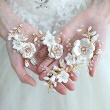 Jonnafe altın çiçek düğün saç tarak Pins büyüleyici kadın saç süsü el yapımı düğün balo aksesuarları