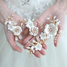 Jonnafe זהב פרחוני חתונת שיער מסרק סיכות מקסים נשים שיער קישוט בעבודת יד חתונה לנשף אבזרים