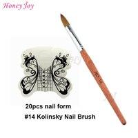 Ince Saç Akrilik Nails Tool Kit Set BOYUT no.4 14 Kolinsky Samur akrilik Tırnak Sanat Fırça + 20 adet Beyaz Kelebek Tırnak Formu Nail