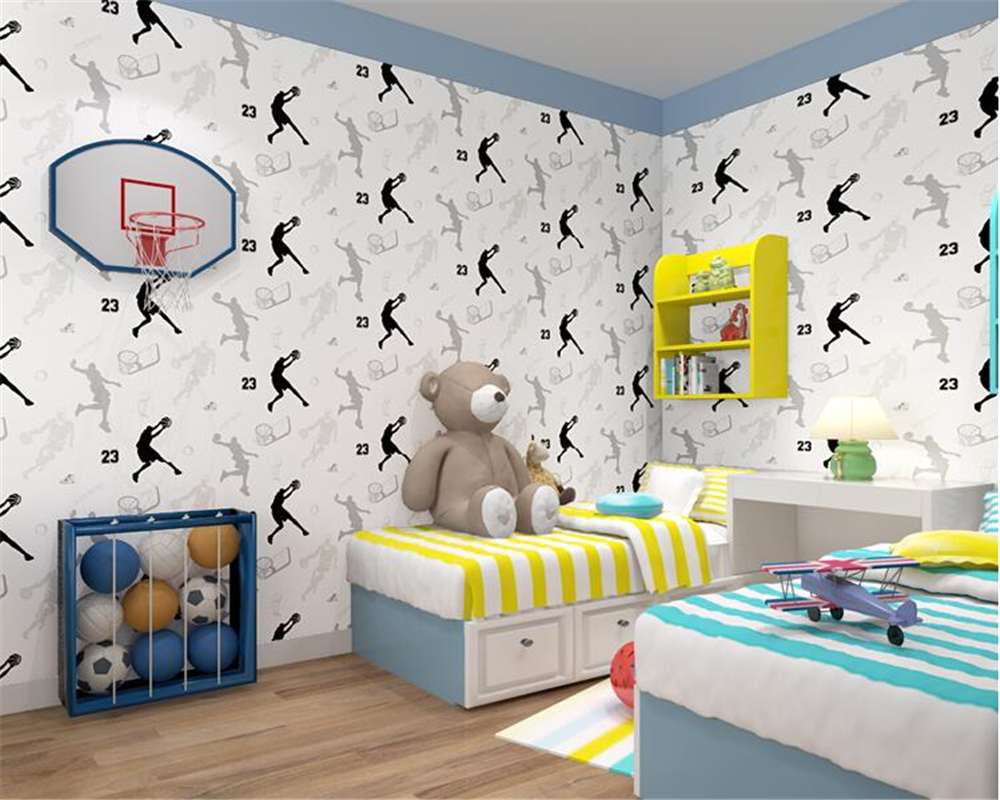 beibehang Wild modern minimalist children wall paper nonwoven striped 3d wallpaper living room television background basketball
