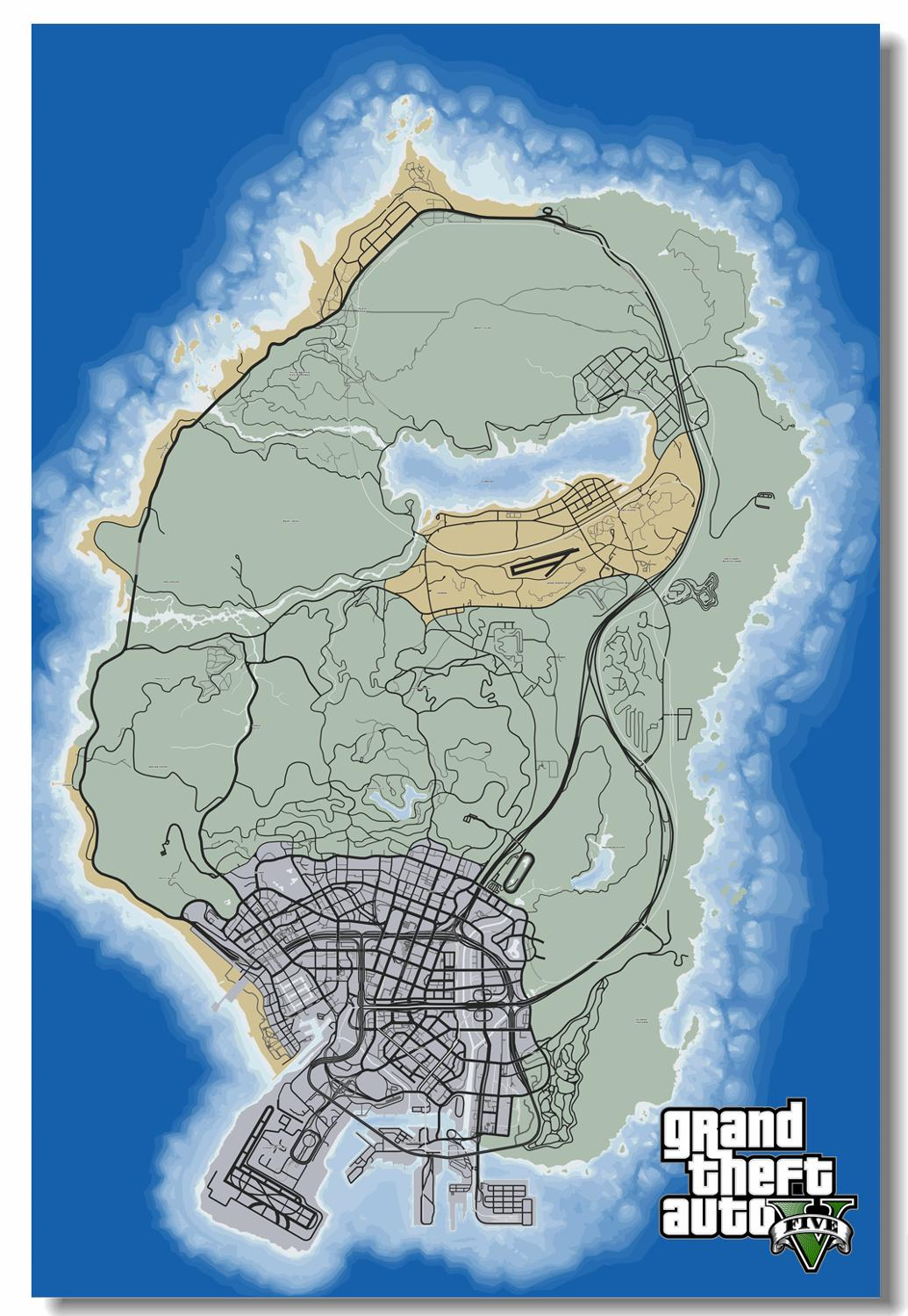 Us 68 Gta San Andreas Poster Gta San Andreas Wallpapers Custom Game Map Wall Sticker Grand Theft Auto V Stickers Home Decor Pn2421 In Wall