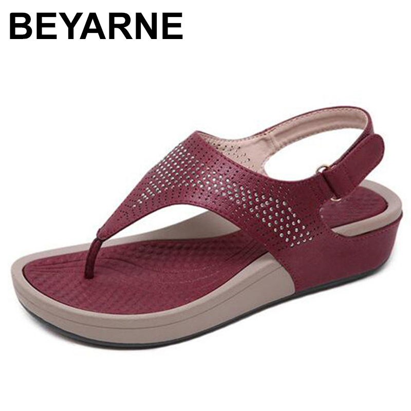BEYARNE 2019 New Fashion Summer Women Bohemia Sandals Rhinestones Leisure Beach Flower Sandals Flat Plus Size 35-42E566(China)