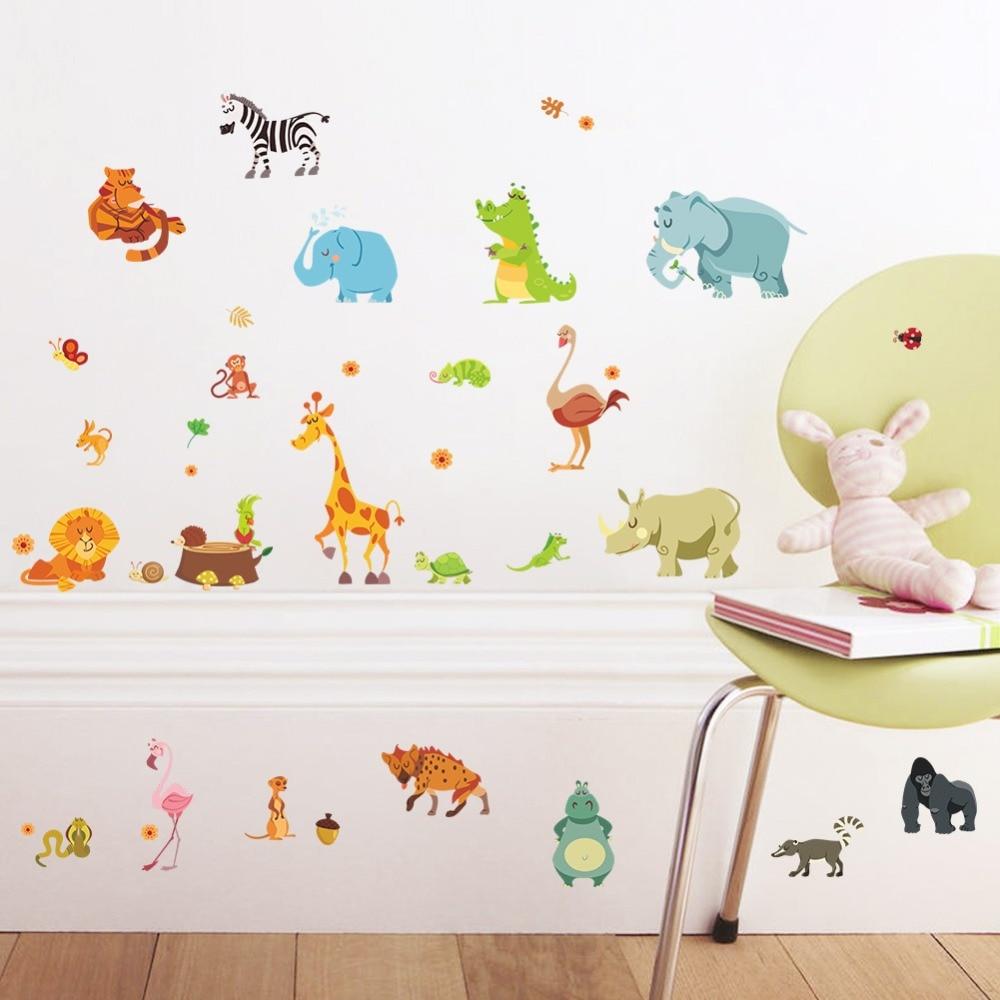 % Dschungel Tiere Wandaufkleber Für Kinderzimmer Safari Kindergarten Zimmer Baby Home Decor Poster Affe Elephant Pferde Wandtattoos