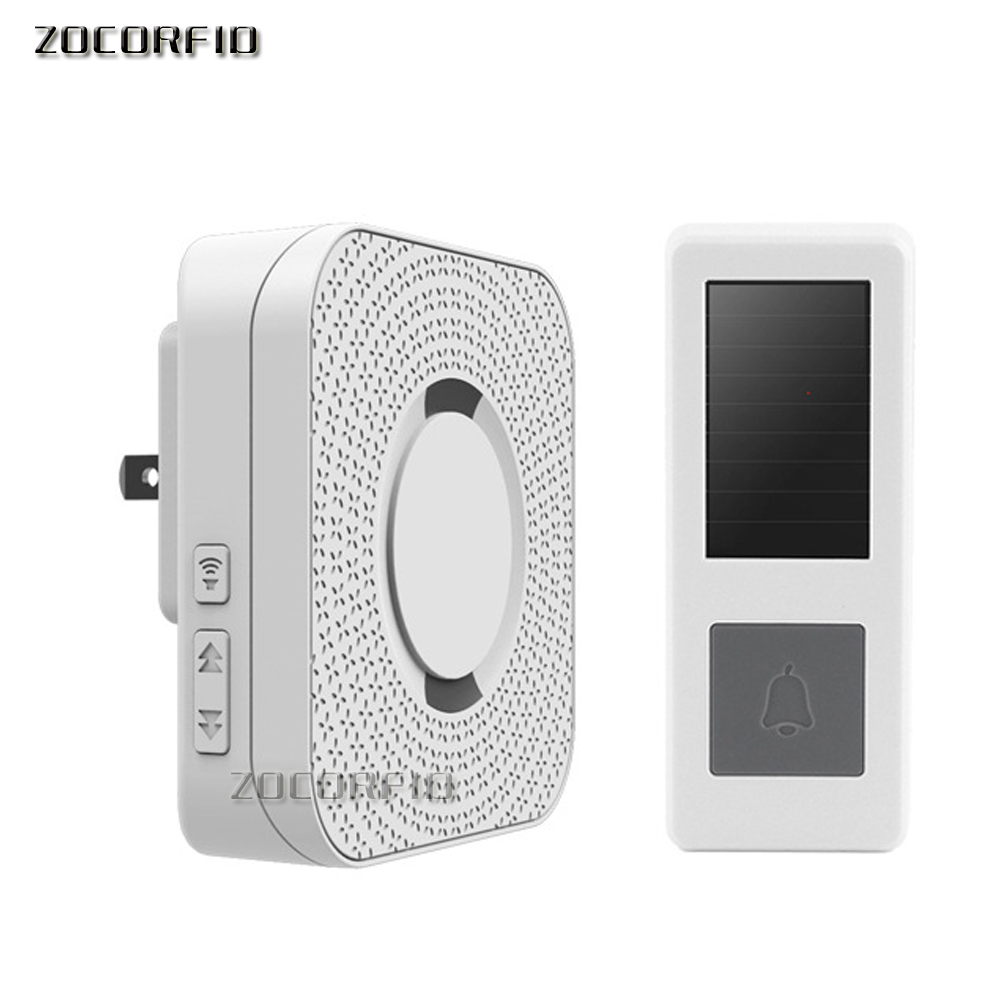 10sets/lot Wholesale 300M Range Solar Power Wireless Doorbell With AC220V Plug 52 Melody White Waterproof Door Bell
