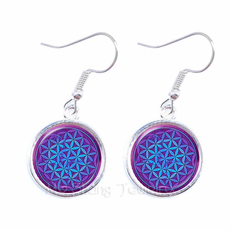 2018 New Women's Jewelry Mandala Flower 16mm Glass Cabochon Earrings For Women Vintage Earrings Datura Best Gift