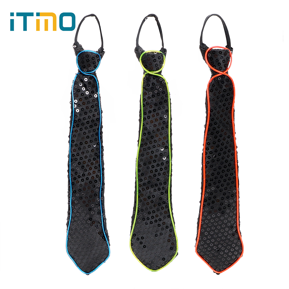 ITimo LED Lamp Luminous Necktie Club Cosplay Carnival Novelty Tie Bar Show Noctilucent Lamp Party Dressing