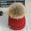 Pompons de pele de raposa bola cap chapéu de inverno de veludo para as mulheres chapéu da menina de malha gorros cap nova marca grosso cap fêmea