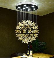 Crystal Flower Chandeliers Round Dinning Room Lustre Hanglamp Suspension Luminaria for Livnig Room LED Lamp