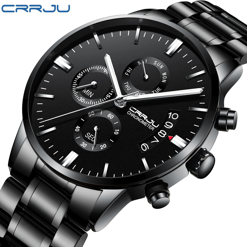 CRRJU Mens  Business Casual Stainless Steel  WristWatch multifunctional Chronograph Quartz Watches for man Fashion Clock Gift CRRJU Mens  Business Casual Stainless Steel  WristWatch multifunctional Chronograph Quartz Watches for man Fashion Clock Gift