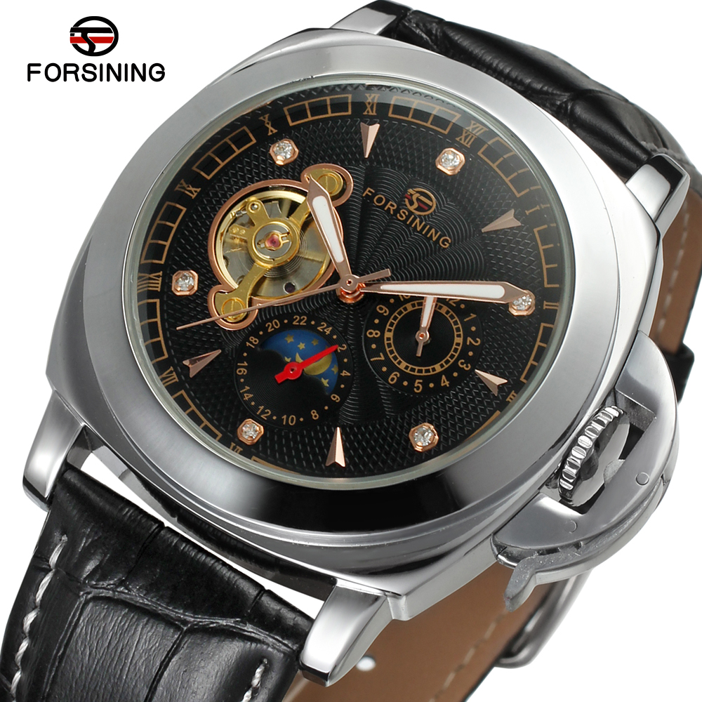 Forsining  Automatic Watches Men Luxury Brand Casual Watch Business Mechanical Wristwatches Leather Band Clock Relojes Hombres forsining gold hollow automatic mechanical watches men luxury brand leather strap casual vintage skeleton watch clock relogio