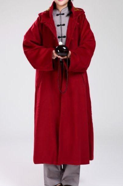 SchöN 4 Farben Dark Rot/braun/grau Wolle Meditation Mantel Mönche Passt Einheitliche Laien Robe Buddhistischen Kampfkünste Kleidung Winter Warme Umhang Weniger Teuer Sport & Unterhaltung