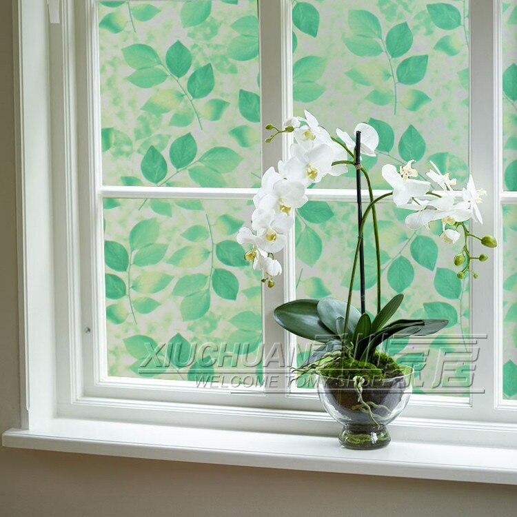 Zielony UVopaque Leavesanti UV Okna Papieru Bez Kleju Statyczne Film Szkło  Sypialnia łazienka Przesuwne Drzwi