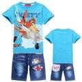 New 2016 Retail Children Set Cartoon DUSTY PLANE fashion suit boys jeans sets t-shirt+pant 2pcs Kids Clothing